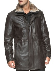 Marc New York Middlebury Fur Trimmed Leather Jacket Espresso