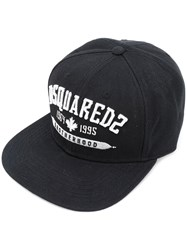 Dsquared2 Embroidered 'Brotherhood' Cap Men Acrylic One Size Black