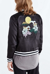 Vanishing Elephant Satin Bomber Jacket Black