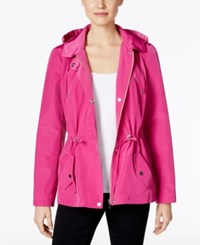 Charter Club Petite Water Resistant Hooded Utility Jacket Only At Macy's Fucshia Red