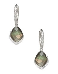Nadri Black Mother Of Pearl And Sterling Silver Oval Drop Earrings