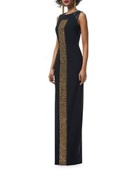 Theia Crystal Embroidered Gown Black