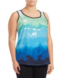Marc New York Printed Mesh Accented Active Tank Top Blue