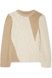 Co Two Tone Cable Knit Alpaca Blend Sweater Cream