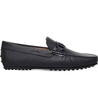 Tod's City Buckle Caviar Leather Driving Shoes Black