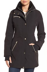 Jessica Simpson Women's Faux Fur Trim Soft Shell Jacket With Inset Vest Black