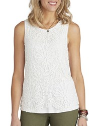 Democracy Crocheted Overlay Top Ivory