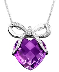 Macy's 14K White Gold Pendant Amethyst 5 1 3 Ct. T.W. And Diamond Accent Bow