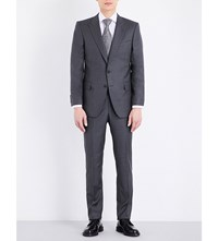 Gieves And Hawkes Fine Stripe Regular Fit Wool Suit Charcoal