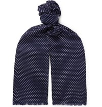 Tom Ford Fringed Polka Dot Wool Silk And Cashmere Blend Scarf Navy