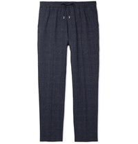 Mr P. Prince Of Wales Checked Linen And Virgin Wool Blend Drawstring Trousers Blue