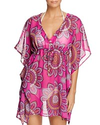Echo Sundial Tile Tunic Swim Cover Up 100 Bloomingdale's Exclusive Hibiscus P