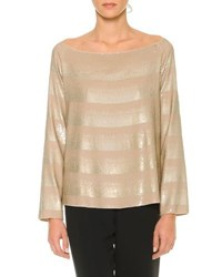 Giorgio Armani Off The Shoulder Striped Degrade Top Tan