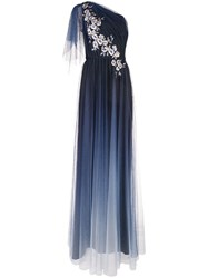 Marchesa Notte Long One Shoulder Dress Blue