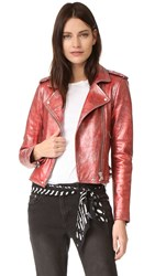 Iro Axelle Metallic Moto Jacket Red