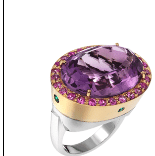 Abellan New York 18K Yellow And White Solid Gold Amethyst 20.04 Cts Emeralds 0.12 Cts Pink Sapphires 1.30 Cts Multi