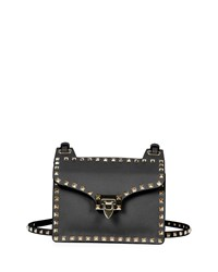 Valentino Rockstud Lock Flap Square Shoulder Bag Black