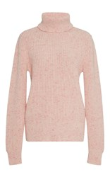 Orley Cotton Candy Ribbed Cashmere Turtleneck Pink