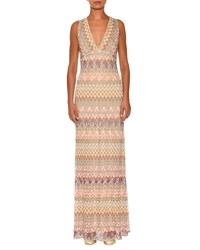 Missoni Sleeveless Zigzag Knit Open Back Gown Champagne