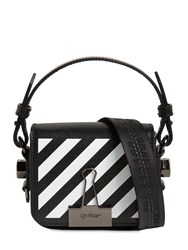 Off White Printed Stripe Baby Leather Shoulder Bag Black
