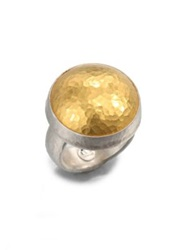 Gurhan Amulet 24K Yellow Gold And Sterling Silver Dome Ring Silver Gold