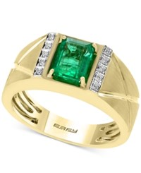 Effy Men's Emerald 1 3 8 Ct. T.W. And Diamond Accent Ring In 14K Gold Green