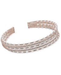 Inc International Concepts Rose Gold Tone Crystal And Imitation Pearl Multi Row Choker Necklace Created For Macy's