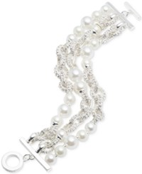 Anne Klein Silver Tone Imitation Pearl And Pave Link Multi Row Bracelet