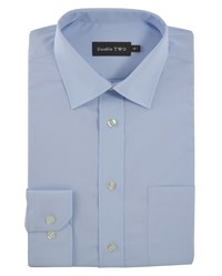 Double Two Men's Non Iron Poplin Long Sleeve Shirt Light Blue
