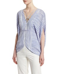 Halston Heritage Short Sleeve Striped Kaftan Top Size Xs Iris Engin