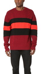 Mcq By Alexander Mcqueen Needle Punch Cable Crew Sweater Burgundy Black