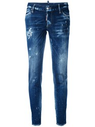 Dsquared2 Cool Girl Jeans Women Cotton Calf Leather Polyester Spandex Elastane 38 Blue