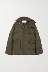 Ganni Oversized Hooded Quilted Shell Jacket Army Green