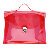 Junya Watanabe Pink Transparent 'Jwcdg' Top Handle Bag