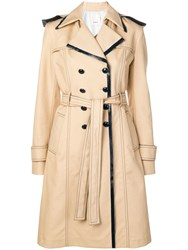 Pinko Double Breasted Trench Coat Neutrals