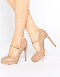 Faith Chrissie Nude Patent Mary Jane Shoes Beige