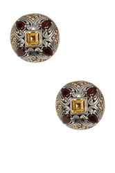 Phillip Gavriel 18K Yellow Gold And Oxidized Silver Garnet And Citrine Earrings Multi