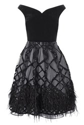 Coast Guinevere Sequin Feather Dress Black
