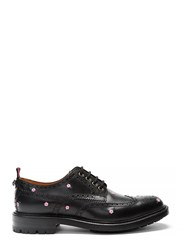 Gucci Floral Embroidered Leather Brogues Black