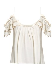 Alex Gore Browne Zigzag Wool And Cashmere Blend Top Ivory