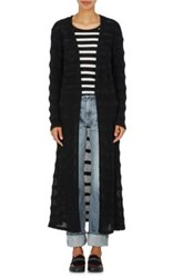 The Elder Statesman Women's Dobby Striped Cashmere Cardigan Black