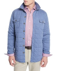 Peter Millar Crown Soft Quilted Button Front Barn Jacket Medium Blue