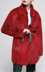 Mr And Mrs Italy Mink Fur Wrap Jacket Red
