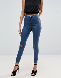 Asos Rivington High Waist Denim Jeggings In Judith Mid Wash With Rips Mid Wash Blue