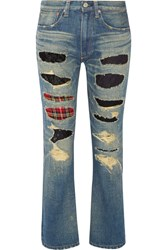 Junya Watanabe Patchwork Low Rise Slim Boyfriend Jeans Light Denim
