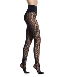 Commando Runway Floral Net Tights Black