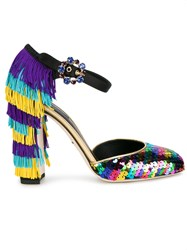 Dolce And Gabbana Embellished Fringe Heel Pumps Black
