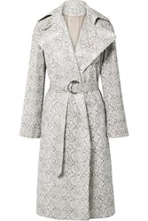 Georgia Alice Snake Effect Faux Leather Trench Coat Snake Print