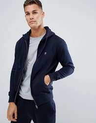 French Connection Basic Zip Through Logo Hoodie Navy