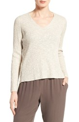 Eileen Fisher Women's Organic Linen And Cotton V Neck Sweater Unnatural